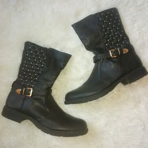 Woman's Black Bumper Buckle Studded Boots